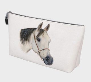 Grey arabian horse portrait Makeup Bag aperçu