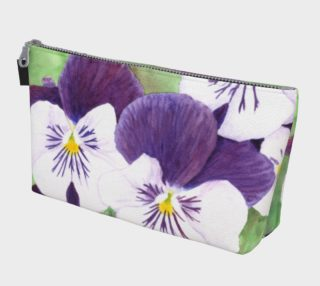 Purple and white pansies flowers Makeup Bag preview