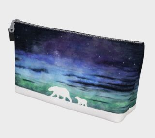 Aurora borealis and polar bears (white version) Makeup Bag aperçu
