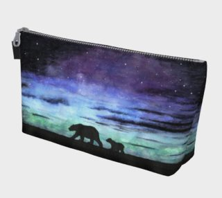 Aurora borealis and polar bears (black version) Makeup Bag aperçu