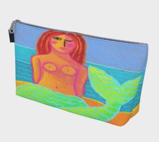 Aperçu de Red Haired Mermaid Abstract Art Clutch Bag