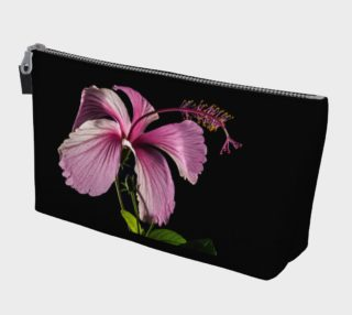 Pink Hibiscus Flower with Black Background Makeup Bag, AOWSGD preview