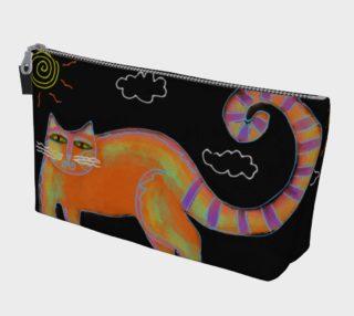Aperçu de Orange Cat with Sun Abstract Art Makeup Bag
