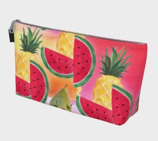 Aperçu de Watercolor Fruit Watermelon Pineapple Pear Cherry Makeup Bag