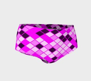 Hot Pink Black Checkered Women's Mini Shorts  preview