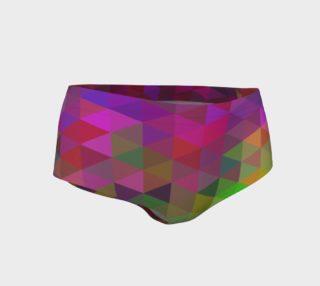Rainbow Geometric Pattern Women's Fitness Mini Shorts  preview