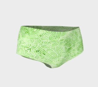 Greenery and white swirls doodles Mini Shorts preview
