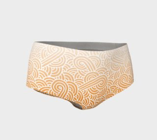 Ombre orange and white swirls doodles Mini Shorts preview