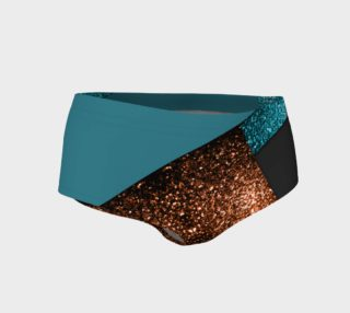 Aqua blue and bronze sparkles modern color block preview