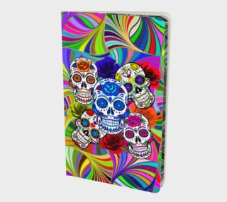 Sugar Skulls Circular Colorful Geometric Abstract Small Notebook  preview