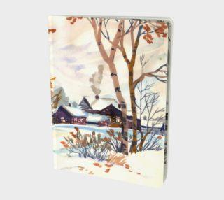 Aperçu de Watercolor Autumn Landscape. Late Autumn. First Snow.