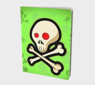 Cartoon Skull On Green Notebook preview