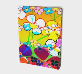 Abstract Colorful Flower Art Yellow Background Notebook preview