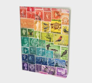 Rainbow Postage Stamp Large Journal with Calendar & Page Index preview