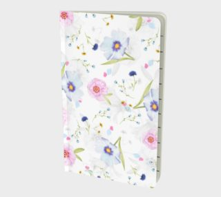 Pink and Blue Flowers on White preview