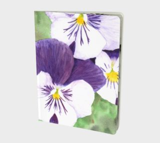Purple and white pansies flowers Large Notebook preview