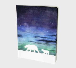 Aurora borealis and polar bears (white version) Large Notebook preview