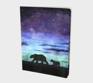 Aurora borealis and polar bears (black version) Large Notebook aperçu