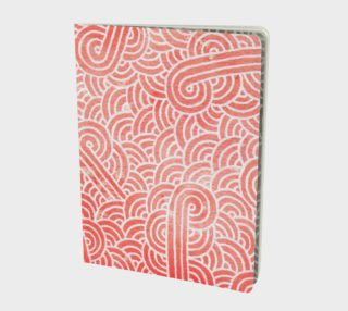 Peach echo and white swirls doodles Large Notebook preview