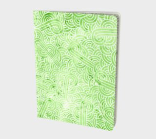 Greenery and white swirls doodles Large Notebook preview