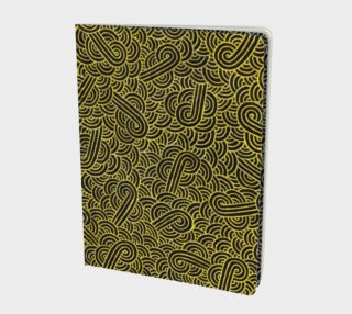 Faux gold and black swirls doodles Large Notebook preview