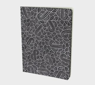 Faux silver and black swirls doodles Large Notebook preview