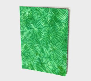 Bright green swirls doodles Large Notebook preview