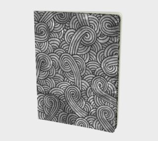 Grey and black swirls doodles Large Notebook preview