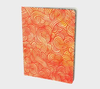 Orange and red swirls doodles Large Notebook preview