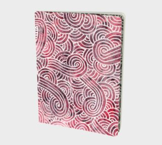 Red and white swirls doodles Large Notebook preview