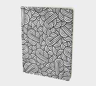 Black and white swirls doodles Large Notebook preview