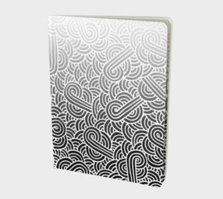 Ombre black and white swirls doodles Large Notebook preview