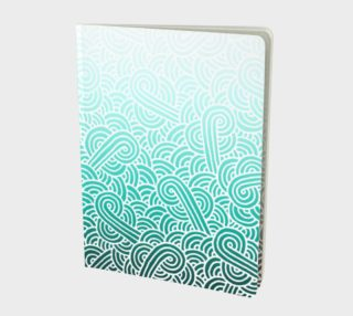 Ombre turquoise blue and white swirls doodles Large Notebook preview