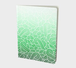 Ombre green and white swirls doodles Large Notebook preview