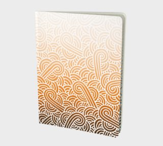Ombre orange and white swirls doodles Large Notebook preview