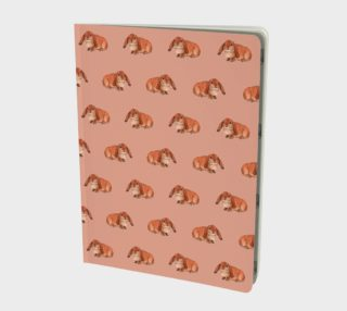 Red rabbit ram pattern Large Notebook preview