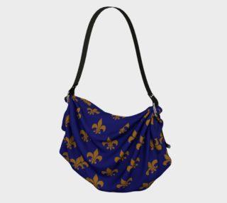 Aperçu de Matte Antique Gold Fleur de Lis on Midnight Blue