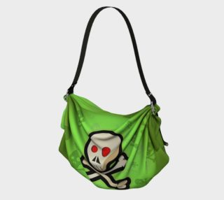 Cartoon Skull On Green Origami Tote bag preview