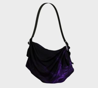 Purple Fractal on Black Origami Tote preview