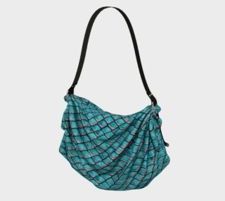 Teal blue and coral pink arapaima mermaid scales pattern Origami Tote preview