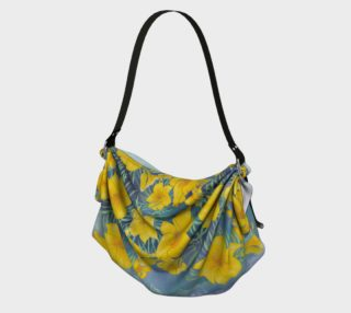 Yellow day lily flowers over cloudy sky origami tote preview