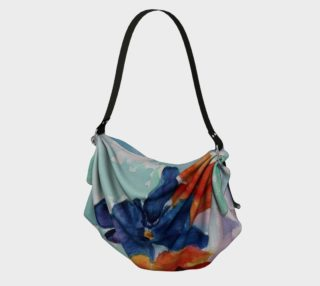 Aperçu de BLUE AND ORANGE PANSIES in WATERCOLOR Origami Tote Bag