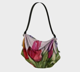 TULIP BOUQUET in WATERCOLOR Origami Tote Bag preview