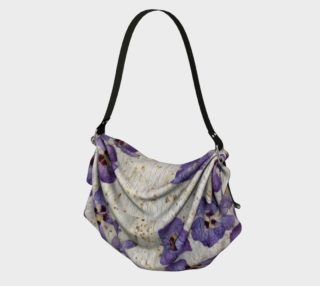 Origami Bag - Travel Tote, Gift Bag, Scarf, Purse, Shawl - Floral - Purple Hibiscus Butterfly preview