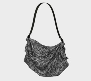 Grey and black swirls doodles Origami Tote preview