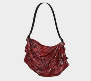 Red and black swirls doodles Origami Tote preview