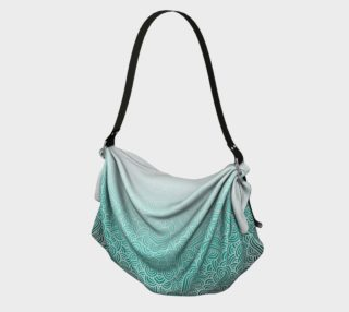 Ombre turquoise blue and white swirls doodles Origami Tote aperçu