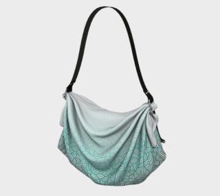 Gradient turquoise blue and white swirls doodles Origami Tote preview