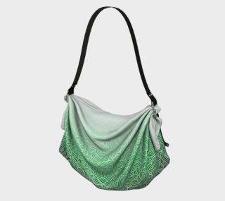 Ombre green and white swirls doodles Origami Tote preview