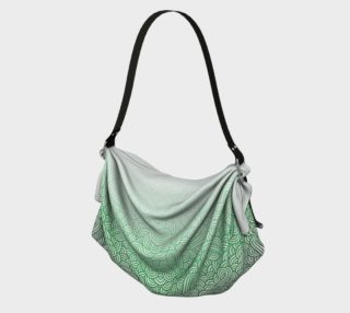 Gradient green and white swirls doodles Origami Tote preview